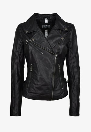 OLIVIA - Leather jacket - schwarz