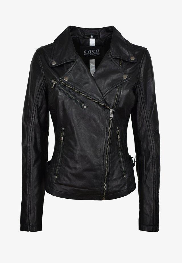 OLIVIA - Leather jacket - schwarz