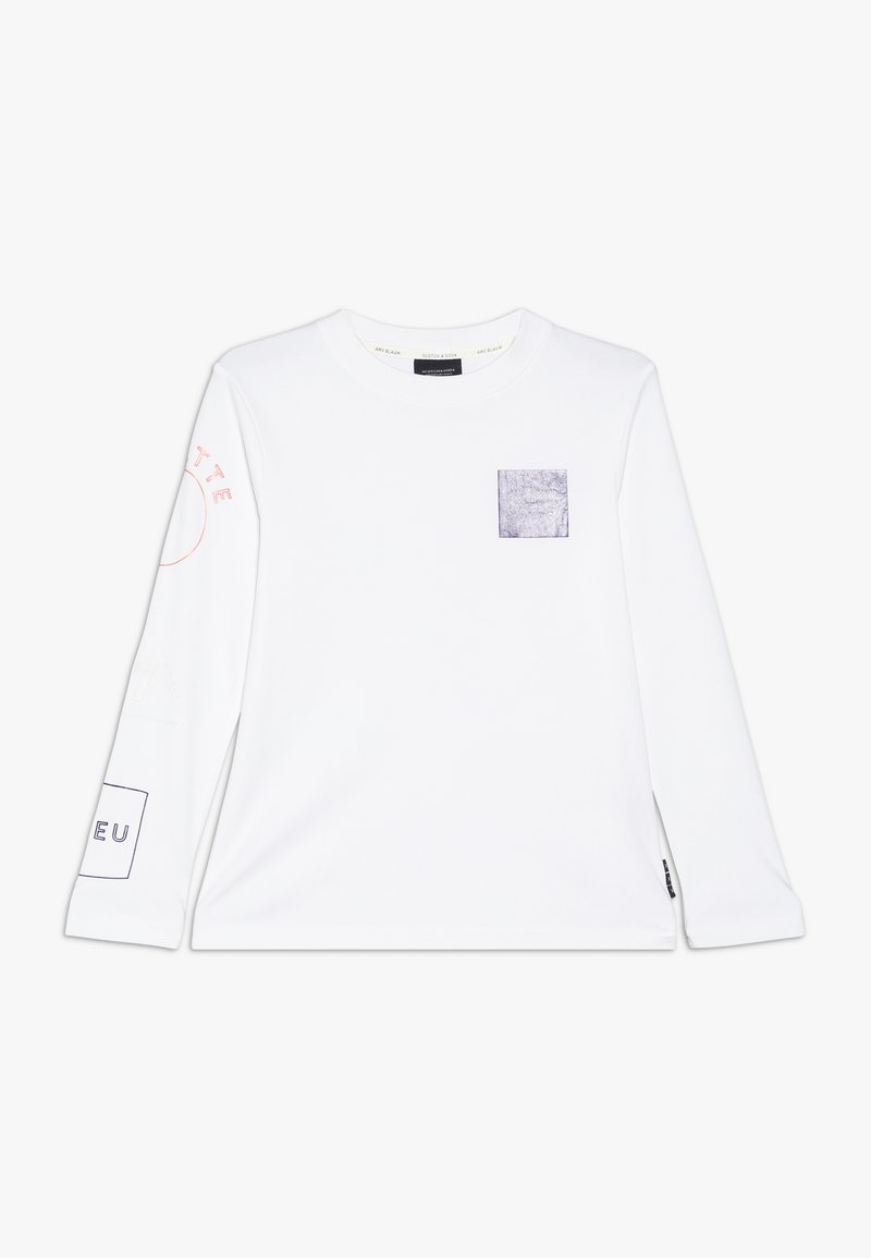 Scotch & Soda - LONG SLEEVE WITH PLACED ARTWORKS - Long sleeved top - white