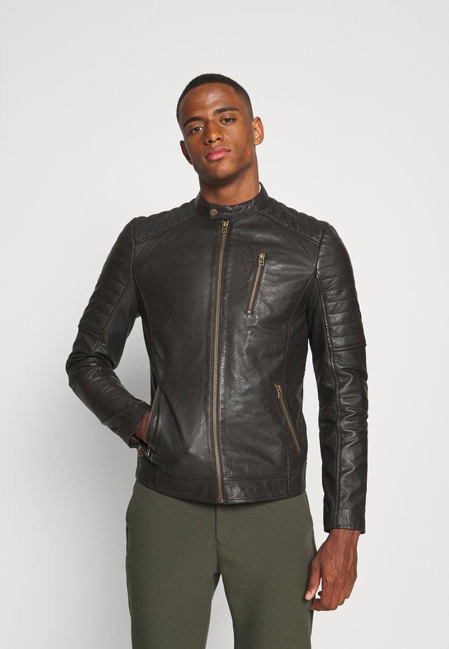 MITCH BIKER - Leather jacket - dark braun