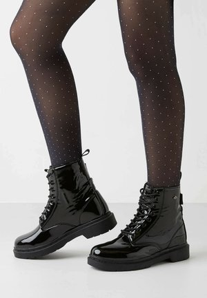 Bottines à lacets - black shiny