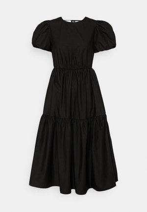 TIE BACK PUFF SLEEVE MIDAXI SMOCK DRESS - Vestito estivo - black