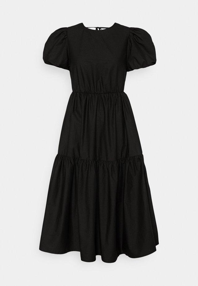 TIE BACK PUFF SLEEVE MIDAXI SMOCK DRESS - Robe d'été - black
