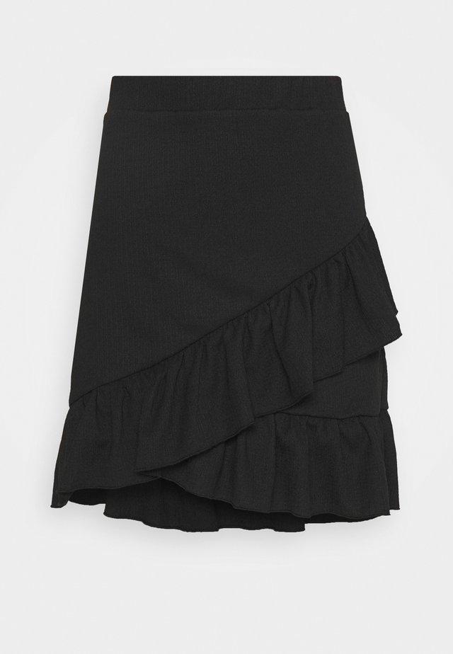 FRILL STRUCTURED SKIRT - Miniskjørt - black