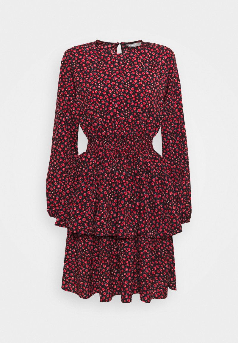 ONLY - ONLTESSA SHORT DRESS  - Day dress - black/paris ditsy /mars red