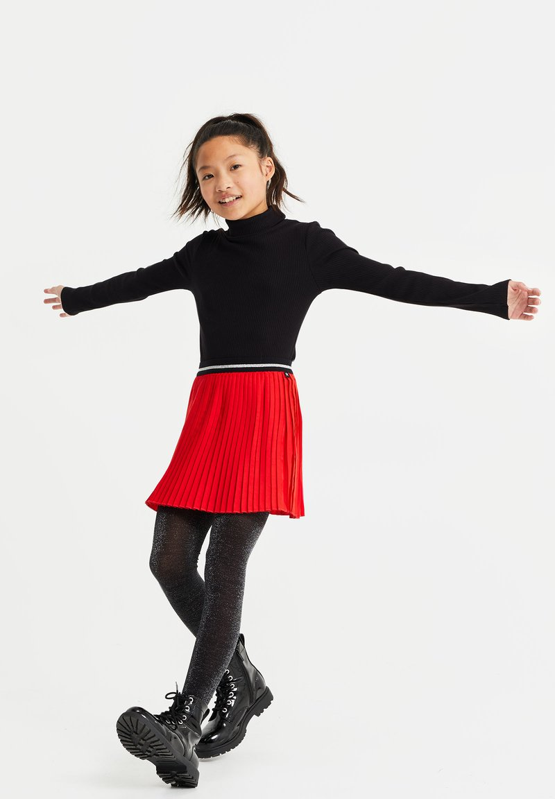 WE Fashion - MET GLITTERDETAILS - A-line skirt - bright red