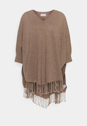 VNECK SLEEVES FRINGES - Cape - mink