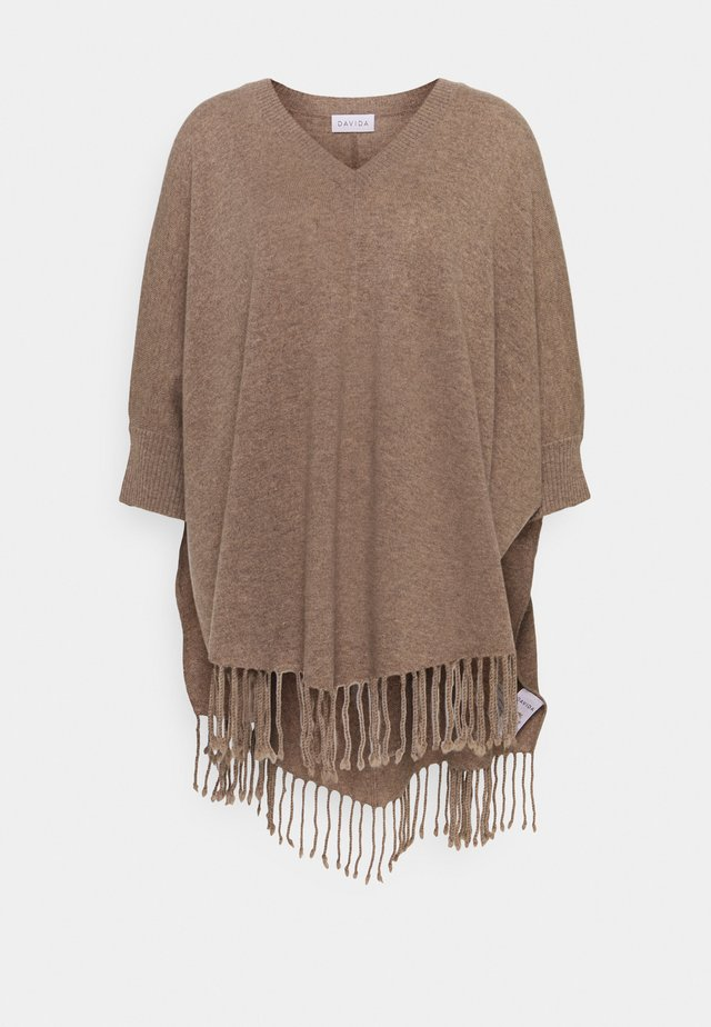 VNECK SLEEVES FRINGES - Poncho - mink