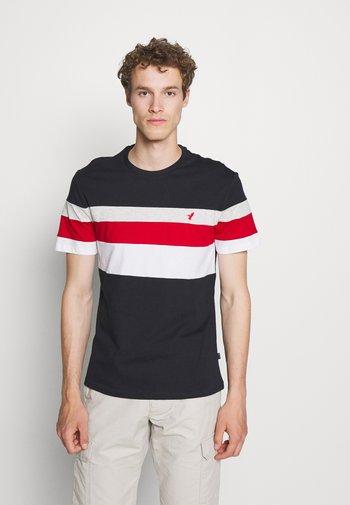 T-shirt print - blue/red/grey