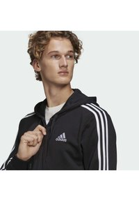 adidas Performance - ESSENTIALS FRENCH TERRY 3-STRIPES FULL-ZIP HOODIE - Zip-up hoodie - black - 4