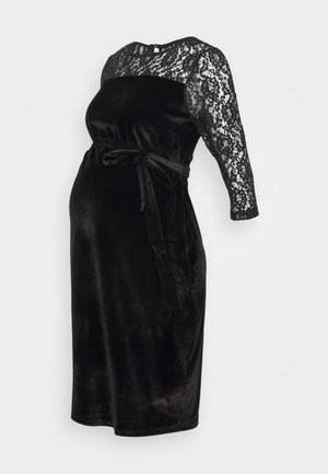 DETAIL FITTED DRESS - Vestito di maglina - black