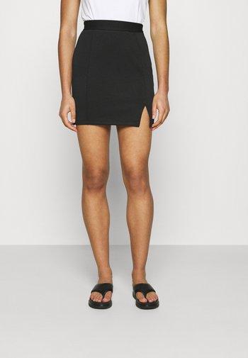 Mini princess seams skirt high waisted with slit - Pencil skirt - black