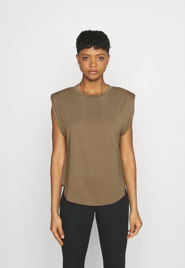 STRONG SHOULDER TANK - T-shirt basique - taupe