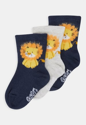 BABY LÖWE 3 PACK - Socks - navy/grau
