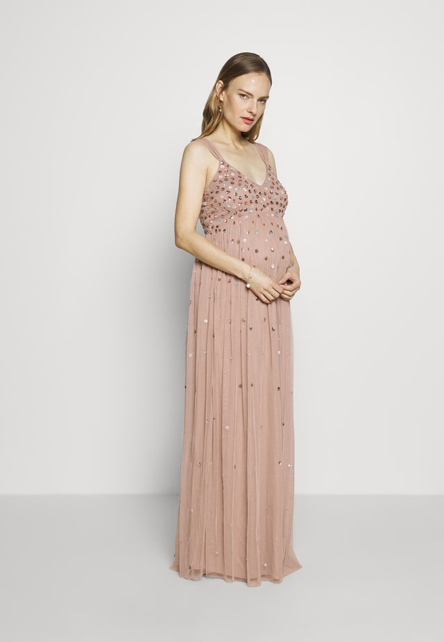 CLUSTER SEQUIN EMBELLISHED DRESS - Abito da sera - taupe blush