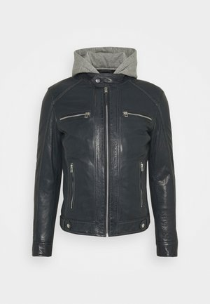 ERIK HOOD - Leather jacket - blue