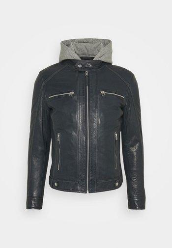 ERIK HOOD - Leather jacket - blue