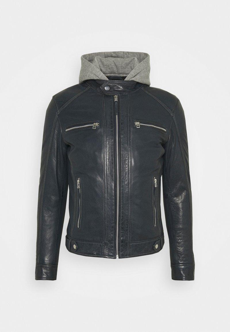 Serge Pariente - ERIK HOOD - Leather jacket - blue