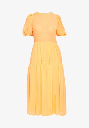 TIERED SHEER MIDI DRESS - Day dress - orange