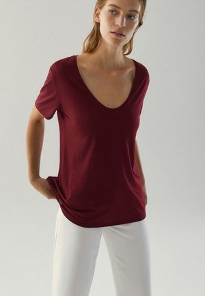 MIT METALLIC-DETAIL - Basic T-shirt - bordeaux