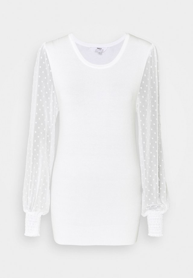 DOBBY SLEEVE JUMPER - Pullover - cream