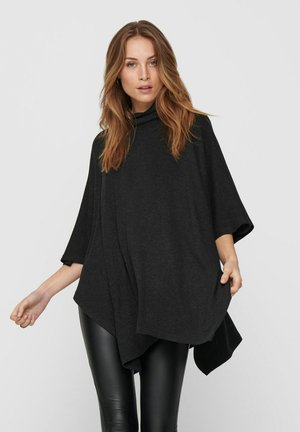 Poncho - dark grey melange