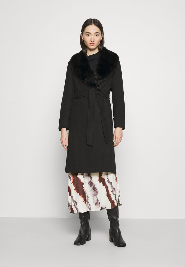 BELT COAT - Classic coat - black