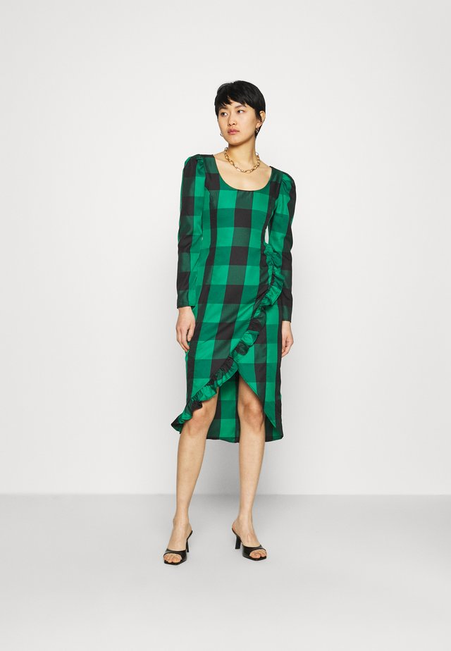 RUFFLE TRIM DRESS - Korte jurk - green