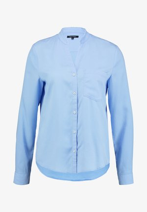 BLOUSE ROUND NECK WITH FRINGES - Button-down blouse - spring sky