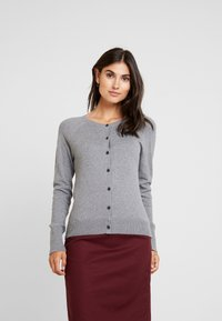 GAP - SLIM CREW CARDI - Chaqueta de punto - medium heather grey - 0