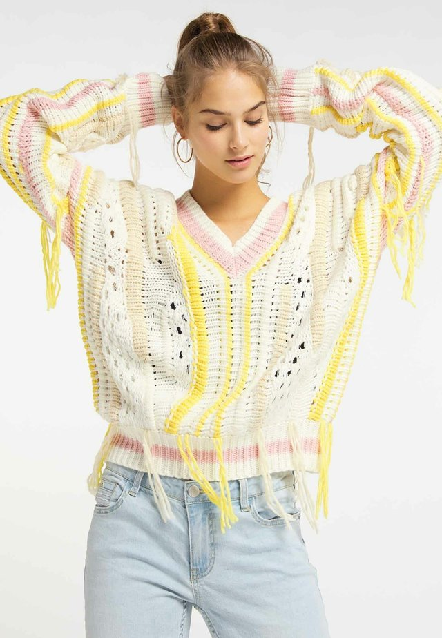 Pullover - white/neon pink