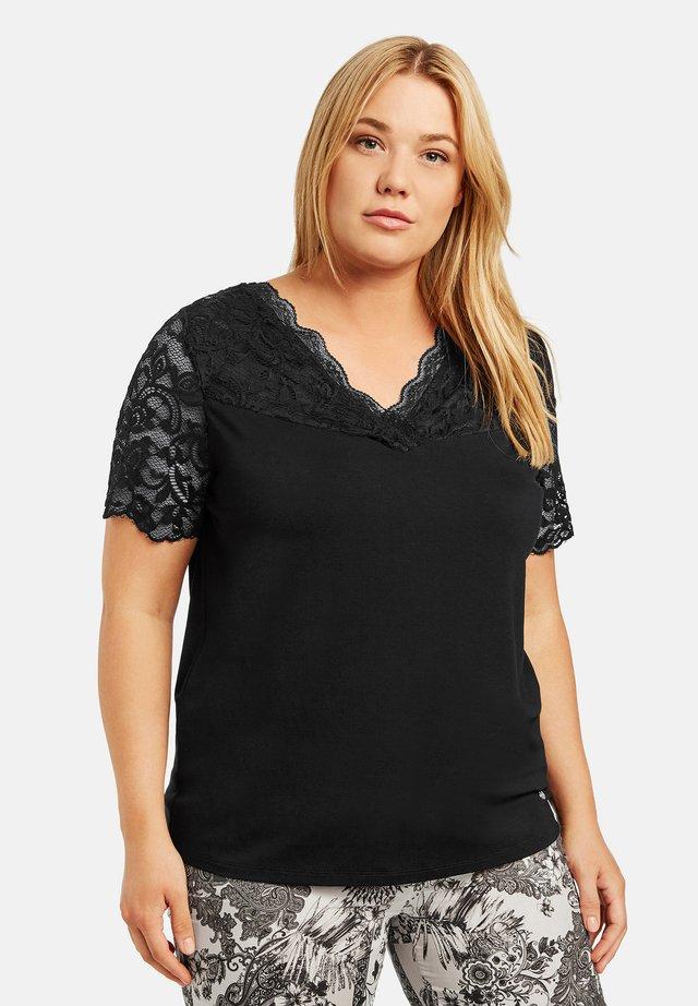 MIT SPITZE - Print T-shirt - black