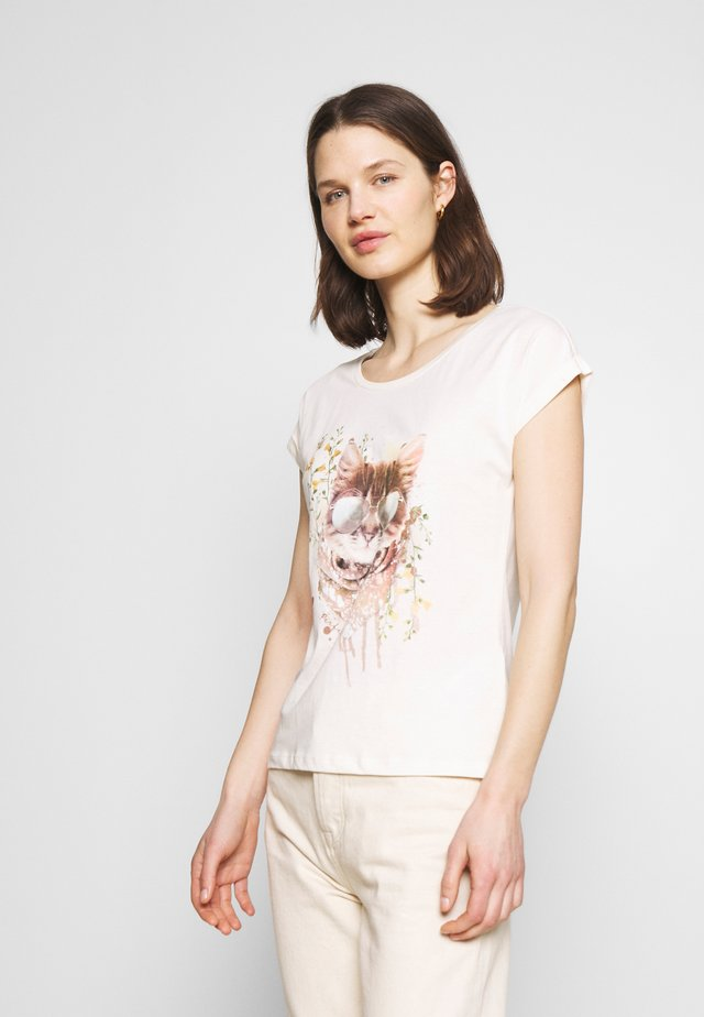 Print T-shirt - eggnog cat