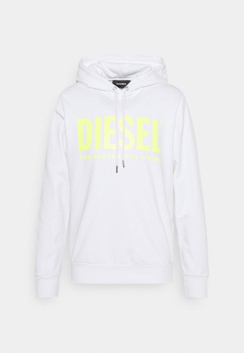 Diesel - HOOD DIVISION LOGO - Hoodie - white/lemon