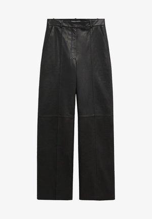 WIDE - Pantaloni di pelle - černá