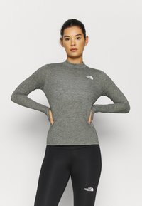 The North Face - W ACTIVE TRAIL WOOL L/S - Funktionströja - black heather - 0