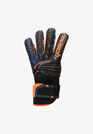 Goalkeeping gloves - black / shocking orange / deep blue