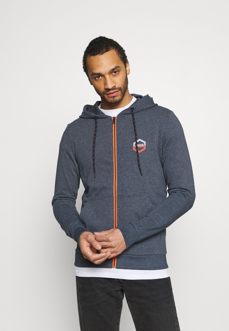 Jack & Jones - JJDELIGHT ZIP HOOD - Bluza rozpinana - navy blazer melange