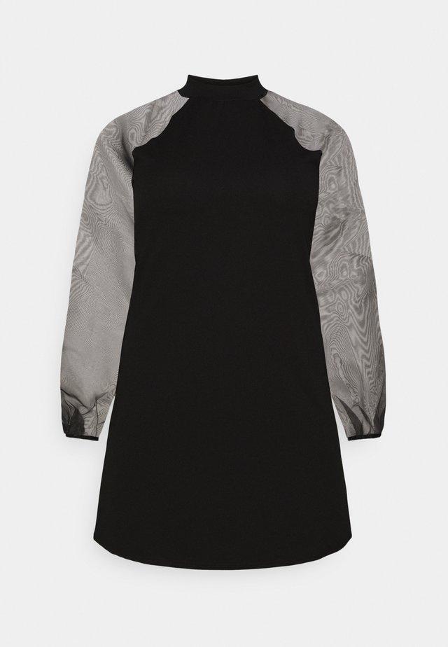 PLUS HIGH NECK SLEEVE MINI DRESS - Cocktailjurk - black