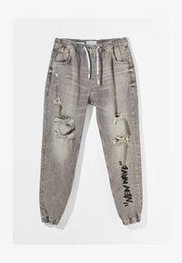 Bershka - MIT PRINT UND ZIERRISSEN  - Jeans Tapered Fit - grey - 4