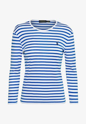 STRIPE - Top s dlouhým rukávem - white/spa royal