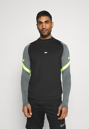 DRY STRIKE DRILL - Sports shirt - black/smoke grey/volt