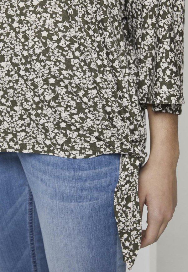 TOM TAILOR T-SHIRT GEMUSTERTES SHIRT MIT KNOTEN- UND AUSSCHNITTDETAIL - Bluzka - khaki offwhite floral design/khaki TOIM
