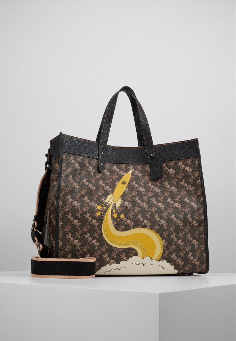 Coach - HORSE AND CARRIAGE COATED ROCKET FIELD TOTE - Shopping bags - brown black