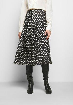 PLEATED SKIRT - A-line skirt - black/cream