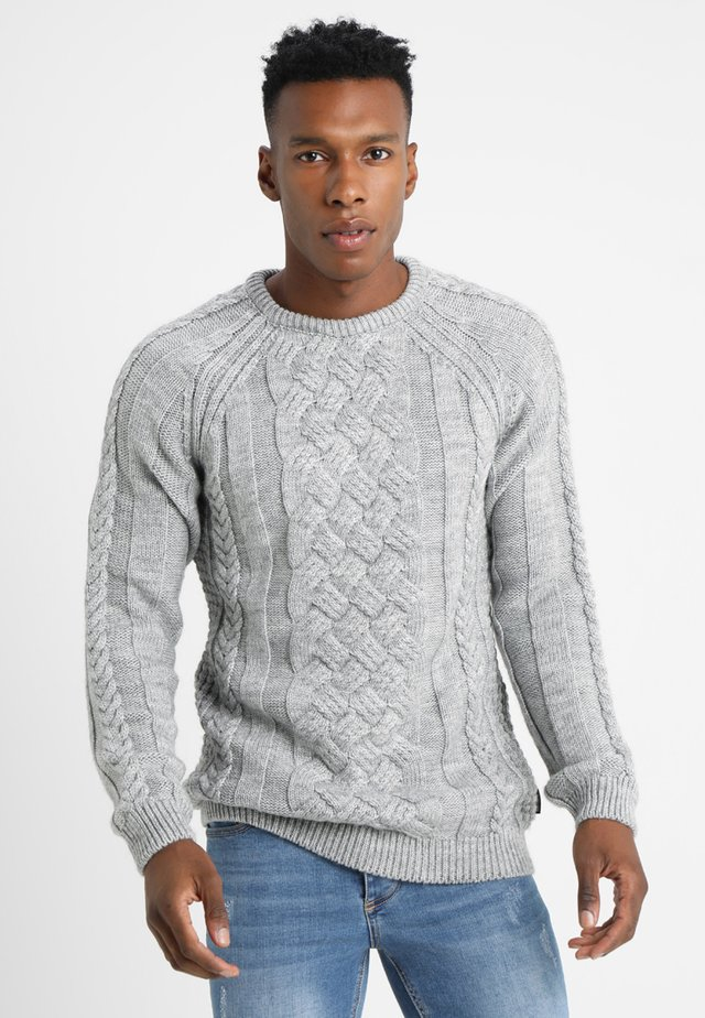 CHUNKY CABLE KNIT - Sweter - mottled light grey