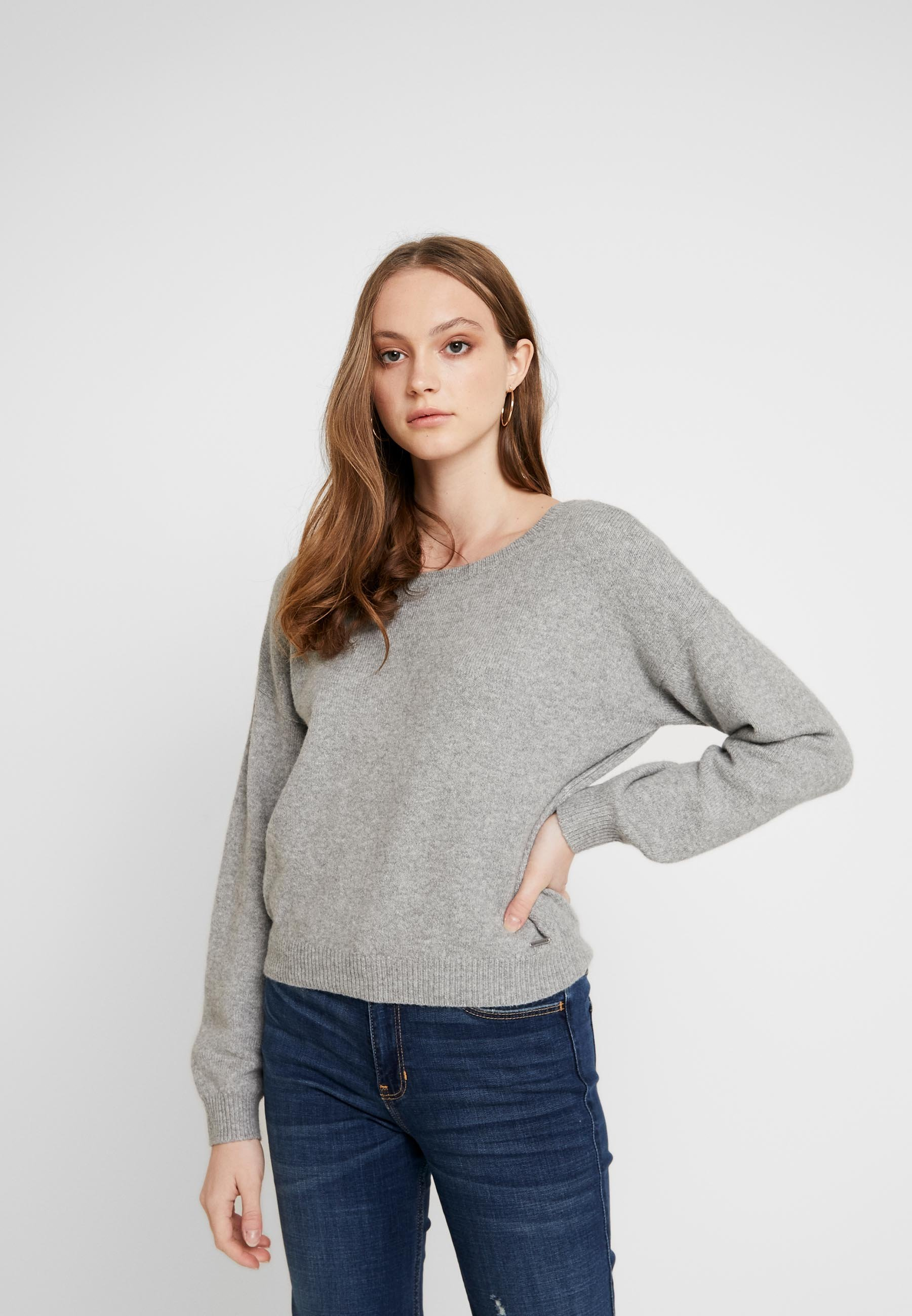 Hollister Co. TWIST BACK - Pullover - light grey - Pulls & Gilets Femme Cic8e