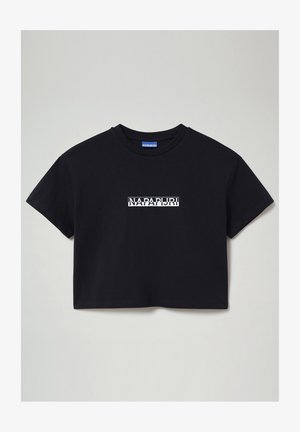 S-BOX CROPPED - Print T-shirt - blu marine