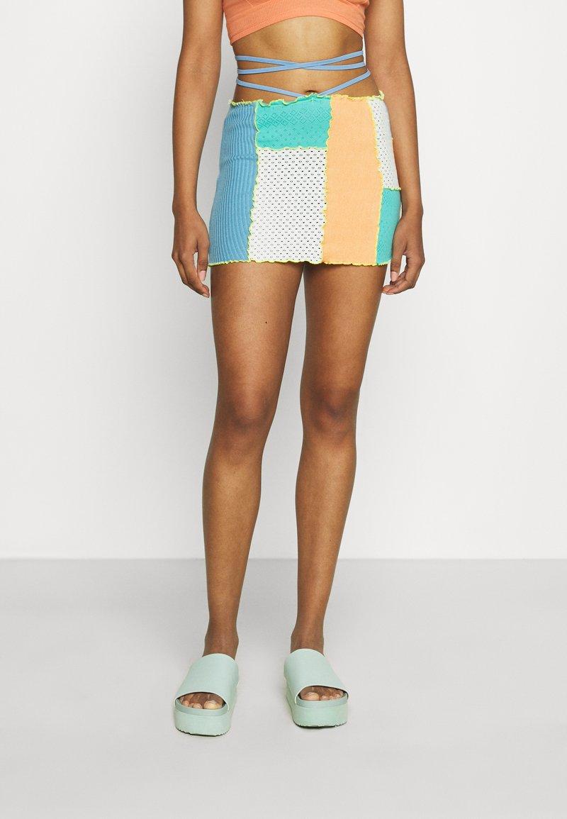 Jaded London - PANELLED MINI SKIRT WITH KNICKER DETAIL  - Mini skirt - blue/ green/ orange