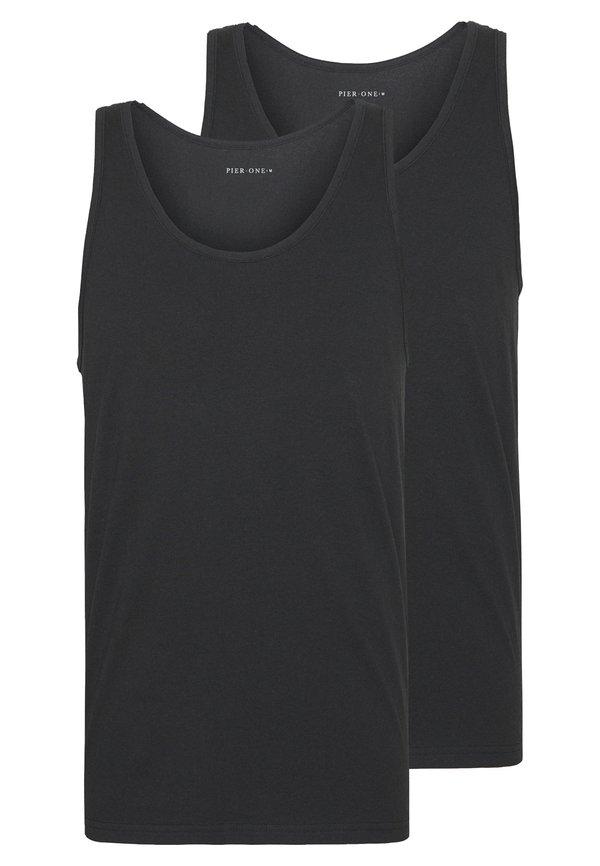 Pier One 2 PACK - Top - black/czarny Odzież Męska HYLX